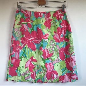 Lily Pulitzer Scallop Skirt Floral & Bird print
